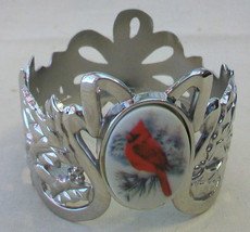 LENOX VOTIVE CANDLE HOLDER WITH CARDINAL, SILVERPLATED - $15.83