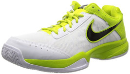 Nike Men's Air Cage Court, WHITE/BLACK-VENOM GREEN-LT BS GREY Size 4US - $69.29