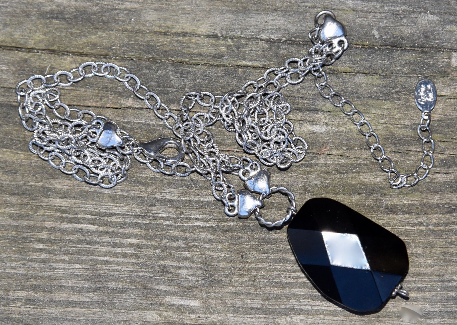 COOKIE LEE DESIGNER NECKLACE FACETED GLASS SILVER TONE METAL CHAIN COSTUME 15""