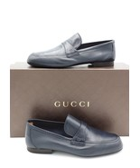 NIB Gucci Mens Unlined Navy Blue Leather Slip-on Loafers Shoes  7 US   - $345.00