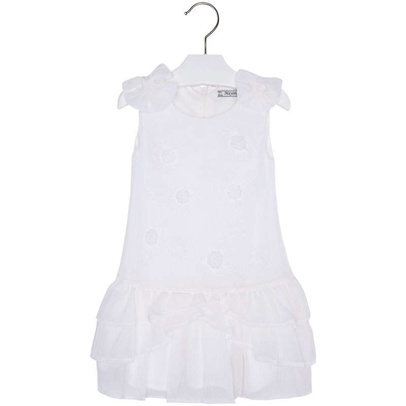 Mayoral Little Girls Ivory Embroidered Bow Shoulder Drop Waist Chiffon Dress