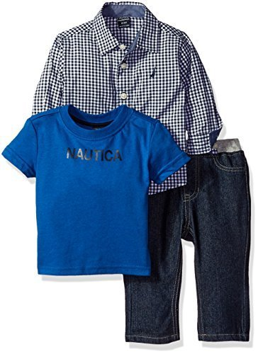 Nautica Baby Three Piece Set with Long Sleeve Check Woven Shirt, Tee and Pant, S