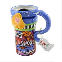 Kylin Express Painted Creative Mug Ceramic Elephant Cup Lid with Spoon, Large Ca - $39.52