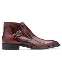 Bespoke Men's Maroon Crocodile Texture Leather Formal Chukka Dress Leath... - $139.00+