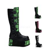 "DEMONIA Techno-850UV 4 1/2"" P/F Platform Boots - Black Pu - $80.95"