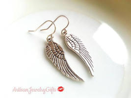 Hypo-Allergenic Silver Wing Earrings Silver Angel Wing Earrings Silver F... - $24.00