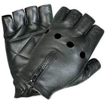 Leather Fingerless Motorcycle Gloves with Zippered Back - $245,82 MXN