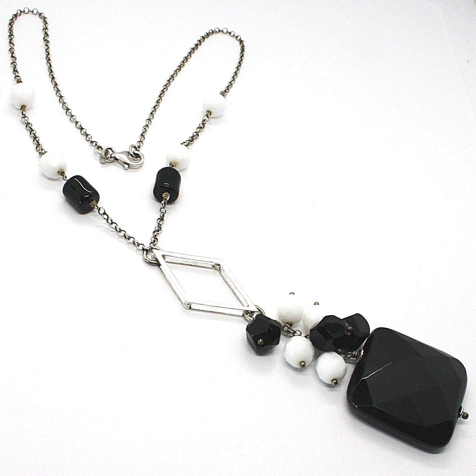 Necklace Silver 925, Onyx Black, Pendant Bunch, 45 cm, Chain Rolo '