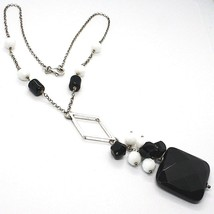 Necklace Silver 925, Onyx Black, Pendant Bunch, 45 cm, Chain Rolo ' image 1