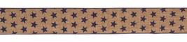 Melrose Floral Ribbon - Tan Linen Patriotic Blue Stars 2.5in x 10yd - $13.95