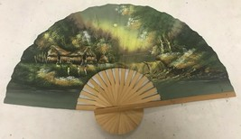 Lrg Vtg Chinese Asian Fan Wall Décor Hand Painted Asian Villages - $63.85