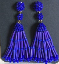 NWT Authentic J.Crew Vintage Cobalt Beaded Long Tassel Drop EARRINGS & Dust Bag - $37.99