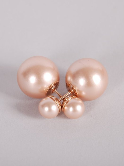 Pre-owned Authentic Christian Dior Pink Rose Gold Mise En Dior Tribal Pearl Earr