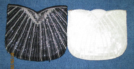 TWO LA REGALE LTD. HAND MADE BLACK,and White .BEADED EVENING PURSES CLU... - $45.50 CAD