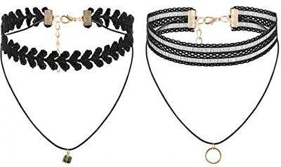 Flongo Womens Ladies Vintage Gothic 6PCS Lace Collar Neckband Choker Necklace,