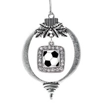Inspired Silver Soccer Classic Holiday Christmas Tree Ornament With Crystal Rhin - $14.69