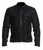 Mens Vintage Motorcycle Cafe Racer Rider Black Biker Leather Jacket image 1