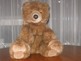 Chosun Brown Teddy Bear Plush Sitting Vinyl Nose 15 Inch 1980s - $34.41