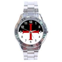 Knights Templar Flag Stainless Steel Analogue Watch - $9.39
