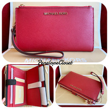 cda7306569e4 Nwt Michael Kors Saffiano Leather Jet Set Travel Double Zip Wallet In  Scarlet - $48.88
