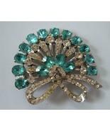 Vintage Aqua Blue Clear Rhinestones Brooch Pin Fan Shape Bow Large 1940's - $43.56