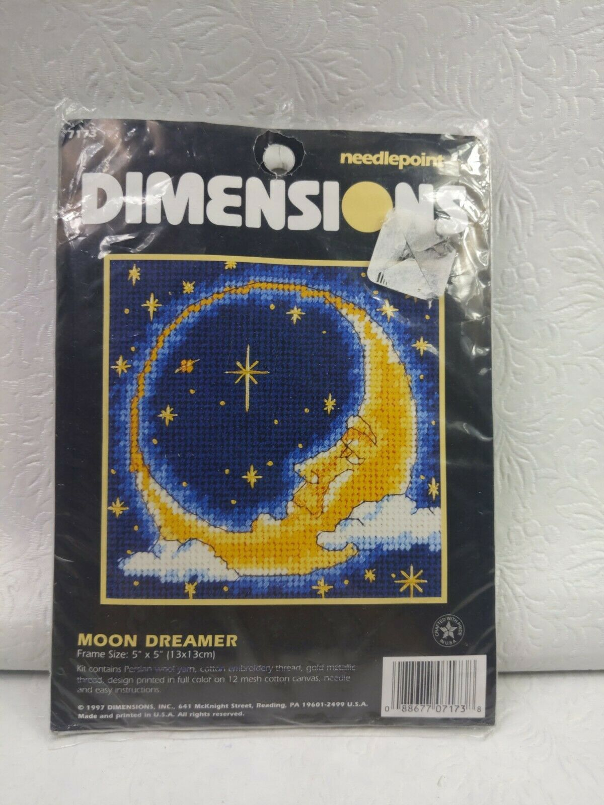 """1997 Dimensions Mini Needlepoint  5""""X5"""" Moon Dreamer  7173 INCOMPLETE - $9.90"""