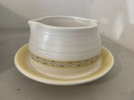 Franciscan Earthenware Hacienda Pattern Yellow Serving Dish Gravy Boat - $13.10