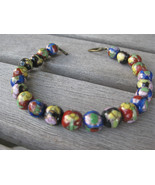 CLOISONNÉ 8mm Bead Bracelet Multicolor ceramic brushed bronze heart togg... - $12.86