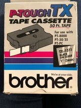 """NEW Brother P-Touch TX-1511 Tape Cassette 50 ft.  Black on Clear 1"""" (24mm) - $14.84"""