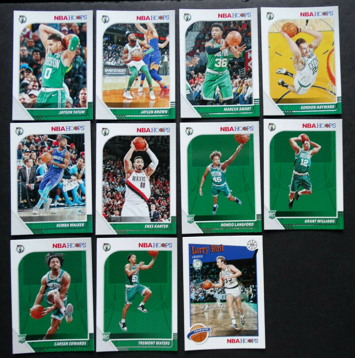 Primary image for 2019-20 Panini NBA Hoops Boston Celtics Base Team Set of 11 Basketball Cards