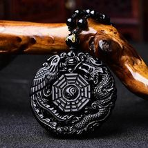 Lucky Pendant Necklace Natural Obsidian Carved Chinese Dragon Phoenix Bagua image 11
