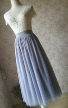LIGHT GRAY Midi Length Tulle Skirt Tulle Midi Skirt Plus Size Gray Party Skirts image 7