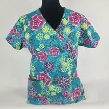 Dickies Womens Scrub Top Sz M Med Blue Pink Green Floral Short Sleeve Tie - $19.64