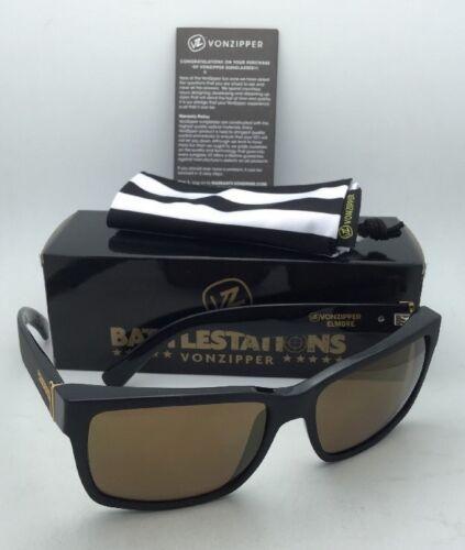 Battlestations VONZIPPER Sunglasses VZ ELMORE Black & Gold Satin Frame w/ Mirror