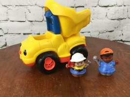 Fisher Price Little People Dump Truck And Worker Men Yellow - $11.88