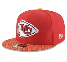 New Era 59Fifty Hat Kansas City Chiefs NFL 2017 On Field Sideline Fitted... - $25.51