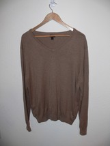 J Crew Men's Tan Sweater V Neck Cashmere Blend Size Large th - $19.99