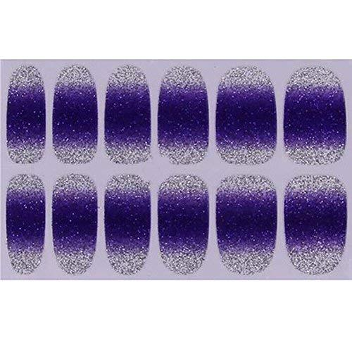 Set of 6 Stylish Bright Gradient Glittery Nail Art Stickers, Purple