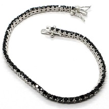 Tennis Bracelet, 925 Silver, Zircon Cubic Black, Brilliant Cut, 2 MM - $39.40