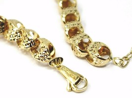 """18K YELLOW GOLD CHAIN, BIG ROUNDED DIAMOND CUT OVAL DROPS 6 MM, ROUNDED, 18"""" image 2"""