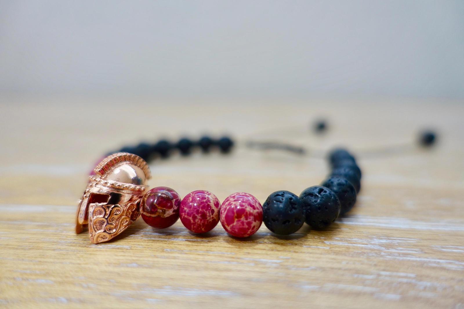 Lava Stone & Pink Sediment Jasper 8mm Beads Adjustable Warrior Bracelet Gemstone