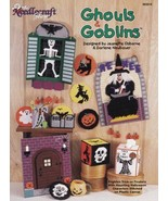 Ghouls & Goblins Plastic Canvas Halloween Witch Skeleton Ghost Pumpkin S... - $7.87