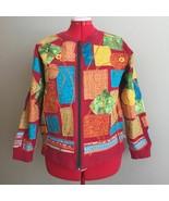 Boho Hand Embellished Fleece Sweatshirt Multicolor Patchwork Applique Ja... - $16.99