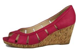 Nine West jumbalia Womens Pink Leather Open Toe Cork Wedge Pump Size 10.5M - $17.52