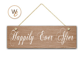"Happily Ever After Sign, 5.5"" x 17"" Wood Sign, Rustic Home Decor, Weddin... - $22.77"