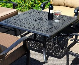 "Patio coffee table square 36"" Elisabeth cast aluminum outdoor furniture Bronze image 4"