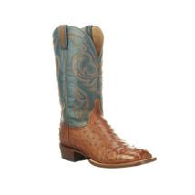 Handmade Men's Tan & Blue Ostrich Print Leather Cowboy Mexican Western Boots - €425,87 EUR