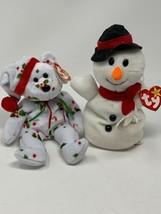 TY BEANIE BABIES 1998 HOLIDAY TEDDY & 1996 SNOWBALL SNOWMAN PLUSH TOYS W... - $7.99