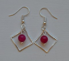 Handmade Drop Dangle Silver Rectangular Shape With Pink Jade Earring - $9.99