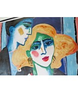 October Balconies IV signed lithograph 11/86 Art Deco Expressionism love... - $500.00